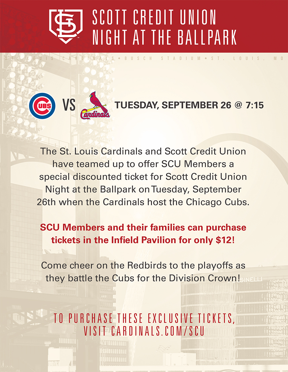 Discounted Cardinals Tickets for Scott Credit Union Members