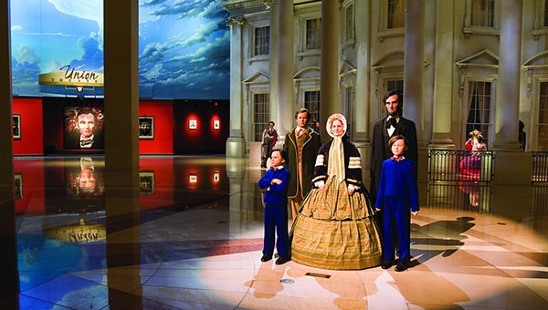 Wax figures of the Lincoln family at the Lincoln Museum