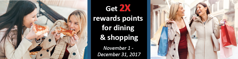 Get 2X rewards points for dining & shopping. Two women eating pizza and shopping in separate images combined to one