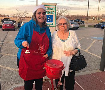 Our volunteers bell ringing during the 2017 Salvation Army holiday campaign