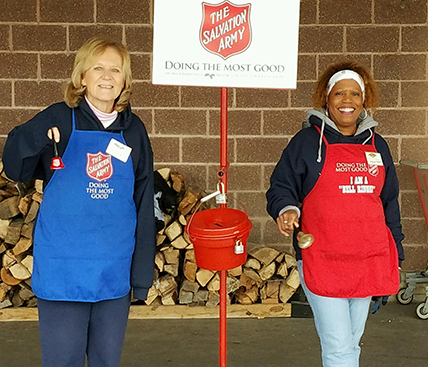 Our volunteers bell ringing during the 2016 Salvation Army holiday campaign