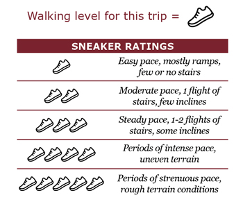 Walking level for this trip is rated one sneaker. Easy pace, mostly ramps, few or no stairs.